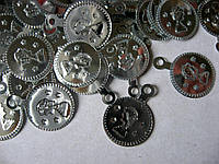 Упаковка пайеток. Монетки серебристые, тисненные, 15х20 мм