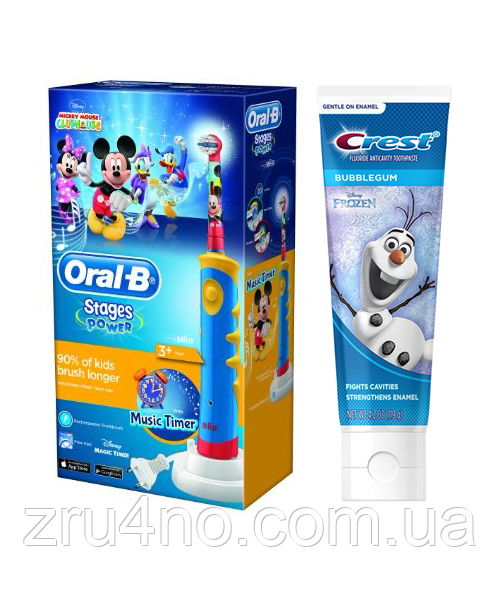 зубная щетка Oral-B Braun D10.513K Mickey Mouse + паста Crest