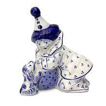 Клоун с собачкой статуэтка из керамики роспись гжель