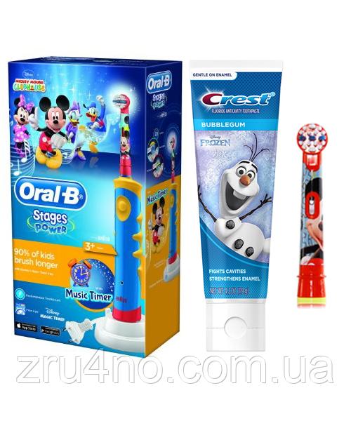 Oral-B D10. 513 Stages Power 2 насадки + зубная паста Crest