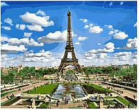 "Раскраски для взрослых ""Эйфелева башня весной"" 40х50см, Без Коробки"