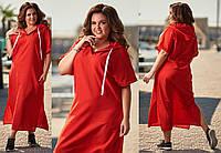 Длинное однотонное платье из льна с капюшоном батал