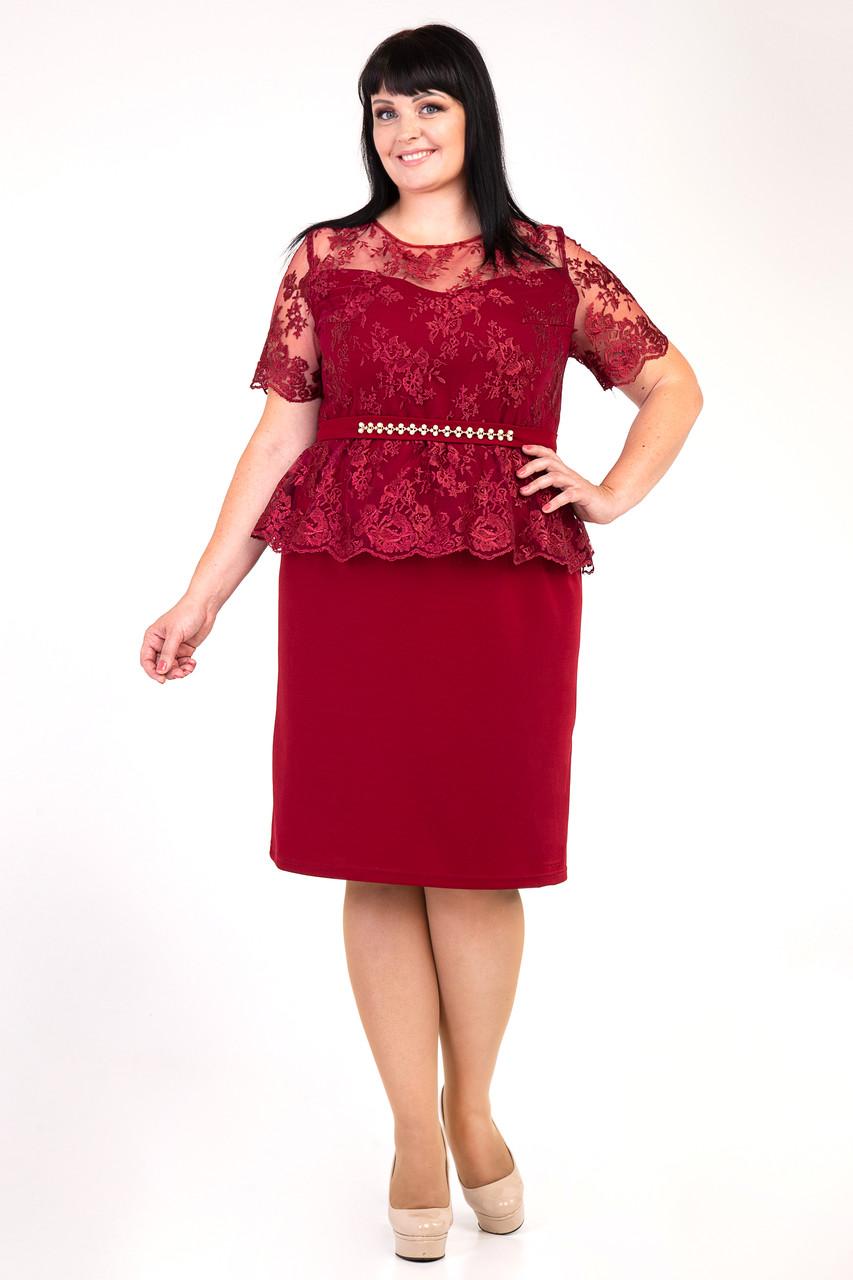 f031f207034 Бордовое женское платье декорировано сеткой с вышивкой - Интернет-магазин  Buyself.com.ua