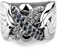 Мужское кольцо головоломка из белого золота от WickerRing