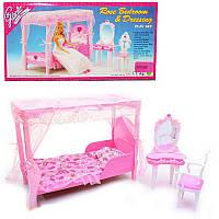 Мебельдля куклыСпальня кровать с балдахином, столик - трюмо, стул, аксессуары, Глория 2614