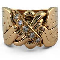 Мужской перстень из желтого золота с бриллиантами от WickerRing