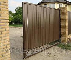 Відкатні ворота з металу 2 800 мм * 2 200 мм