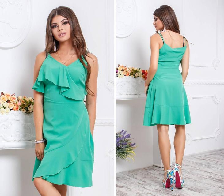 Платье с воланом, модель 112,цвет Изумрудный