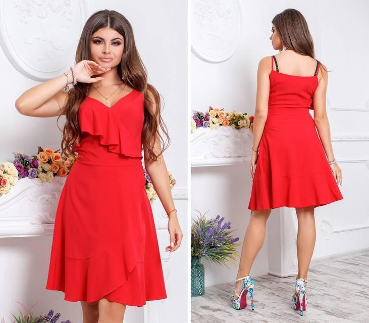 Платье с воланом, модель 112,цвет Красный