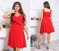 Платье с воланом, модель 112,цвет Красный, фото 1