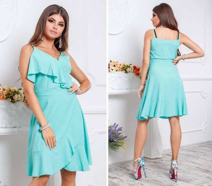 Платье с воланом, модель 112,цвет Голубой