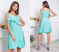 Платье с воланом, модель 112,цвет Голубой, фото 1