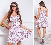 Платье с воланом, модель 112,принт розовые цветочки на белом, фото 1