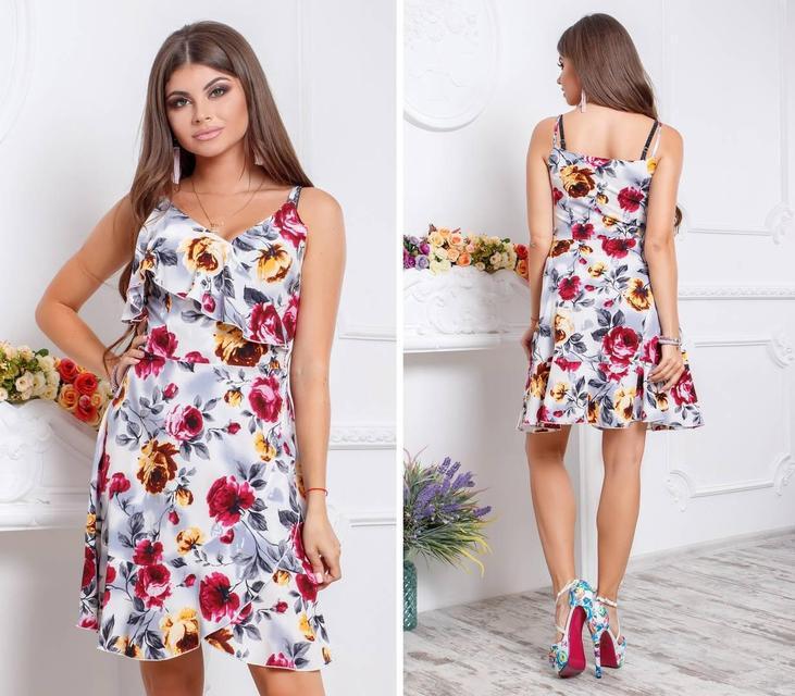 Платье с воланом, модель 112, принт красно-желтые розы на белом фоне