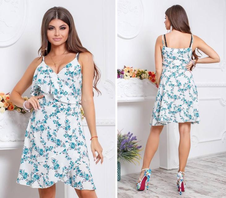 Платье с воланом, модель 112,принт бирюзовые цветочки на белом