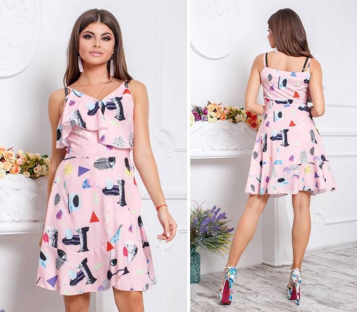 Платье с воланом, модель 112,принты на розовом фоне
