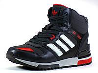Зимние кроссовки реплика Adidas ZX700 на меху черные/красные , фото 1