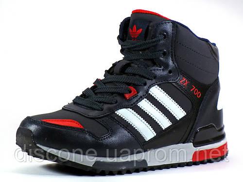 Зимние кроссовки реплика Adidas ZX700 на меху черные/красные