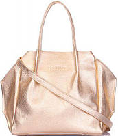 2647cae16599 Poolparty Вместительная женская сумка необычной формы из натуральной кожи  золотистого цвета