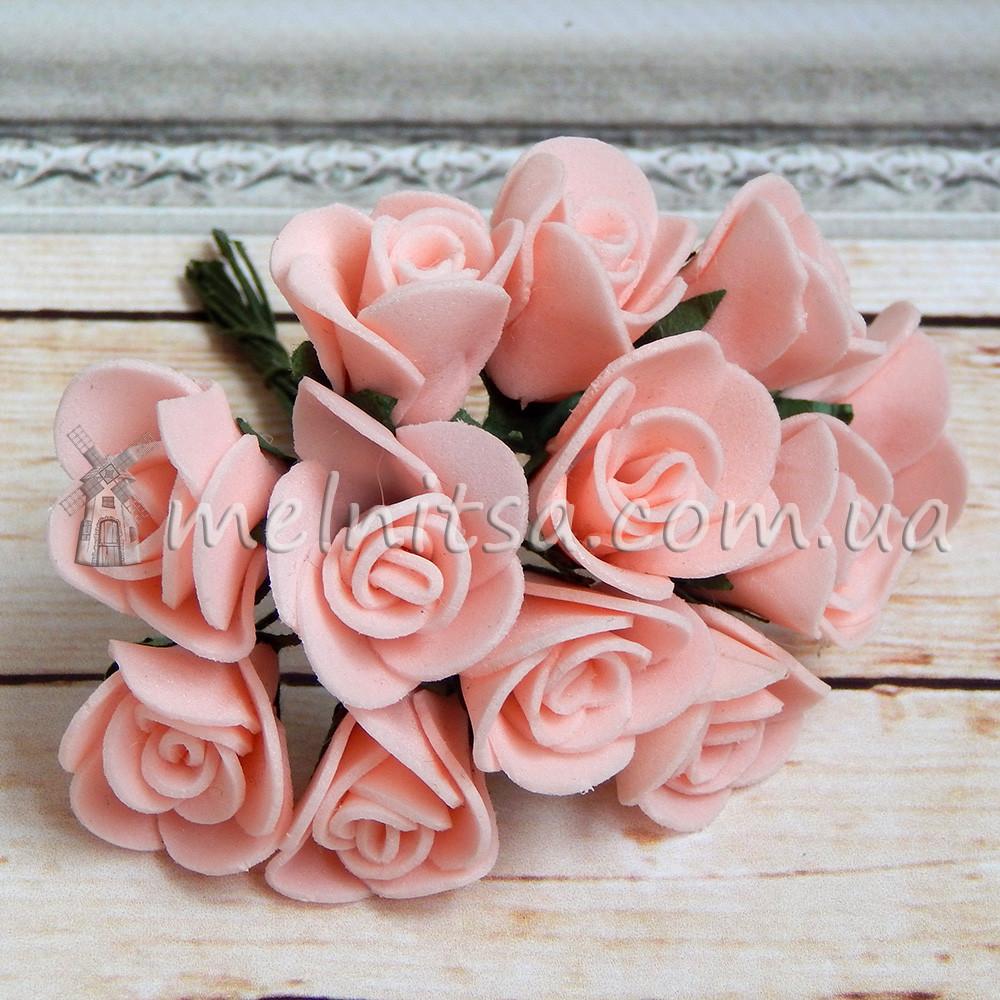 Розы из латекса, 1,5-2 см, персиковый