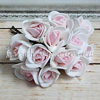 Розы из латекса, 1,5-2 см, белый+св.розовый