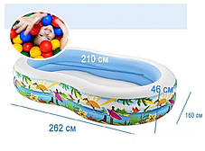 Надувний дитячий басейн Intex 56490 розмір 262*160*46 см, фото 3