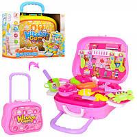 Кухня чемодан на колесах детская игрушечная. Продукты 528C-1-2,  посуда, чемодан (на колесиках)-кухня, посуда,