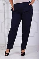 Темно-синие брюки из штапеля на резинке батал