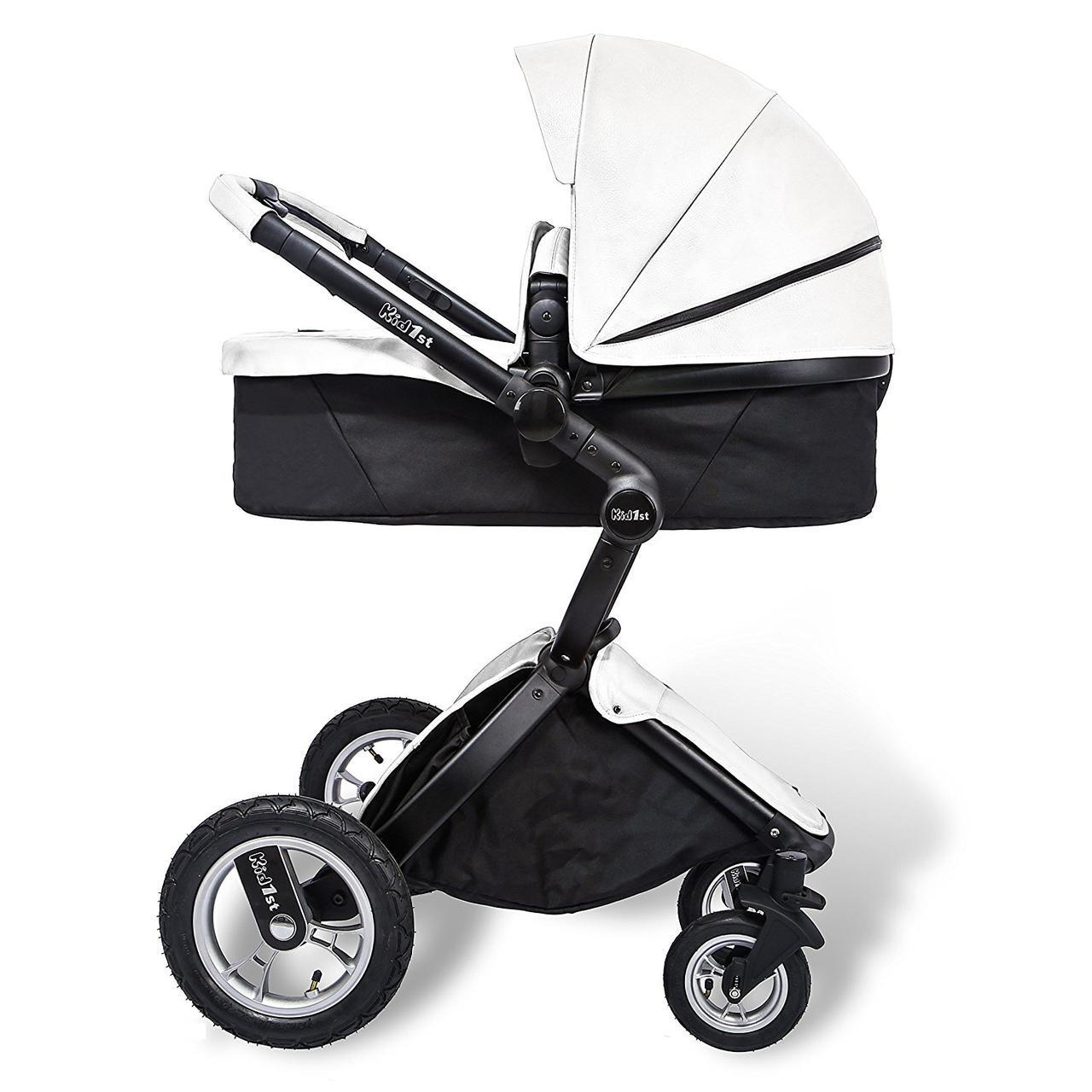 Детская коляска-трансформер 2 в 1 Kid1st Белая эко-кожа (Уценка)