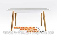 Стіл обідній Сингл 1300(+300)*800 білий (ніжки дуб) Мікс меблі