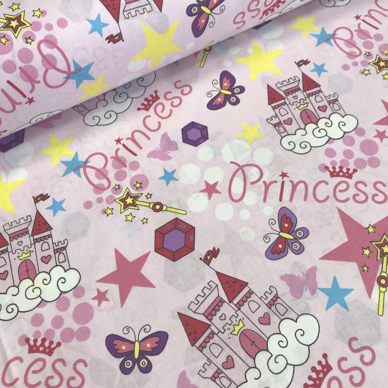 Бавовняна тканина (ТУРЕЧЧИНА шир. 2,4 м) принцеси рожеві №32-21