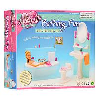 Мебельдля куклыВанная комната - ванная, умывальник, унитаз, аксессуары, Глория 2820