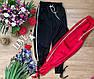 Модные женские брюки креп-атлас с лампасами и переплетом черные, красные, фото 2