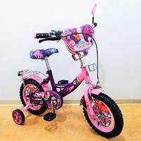 Велосипед со страховочными колесами, Велосипед TILLY Русалка 12 T-21227 purple + pink, Велосипед для девочки