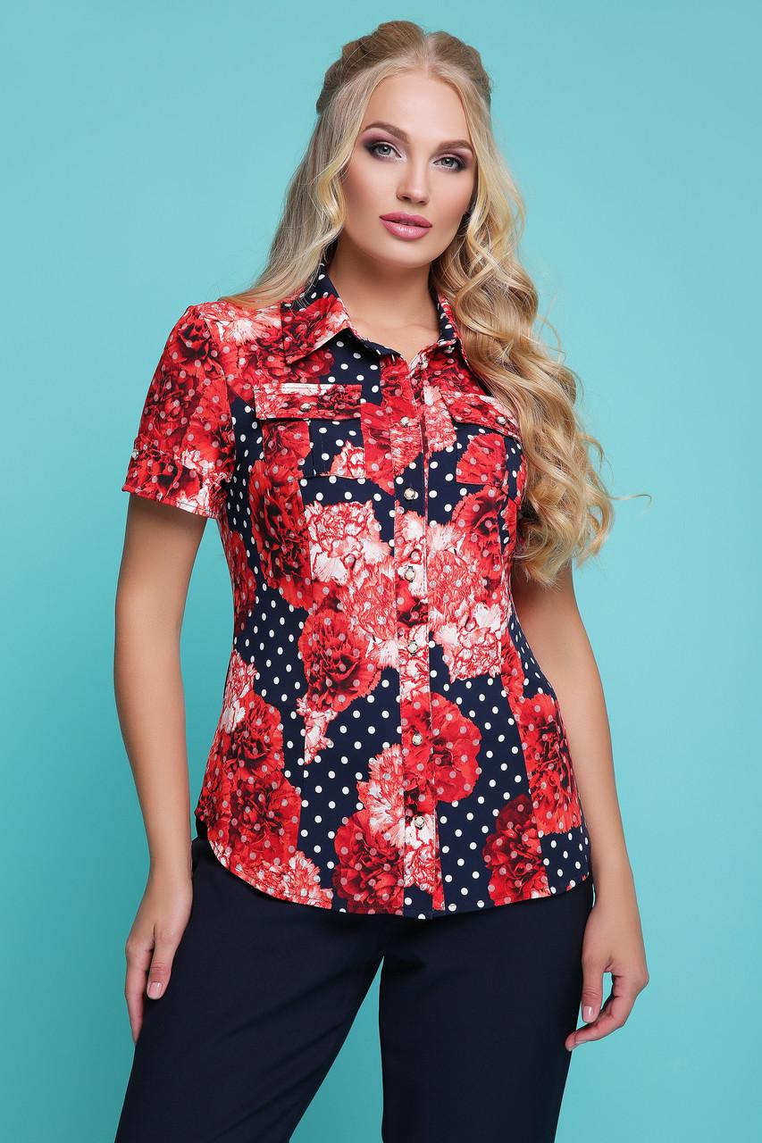 Блузка рубашка женская нарядная блуза трикотажная летняя больших размеров