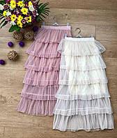 Стильная женская многослойная юбка фатин пудра, молоко