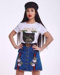 Джинсовая женская юбка с вышивкой и лампасами, на пуговицах