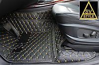 Коврики BMW X6 Кожаные 3D (кузов E71 / 2008-2014) Чёрные, фото 1
