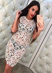 Красивое кружевное платье туника только пудра