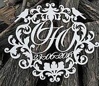 Свадебный герб, инициалы на свадьбу, монограмма, семейный герб из дерева