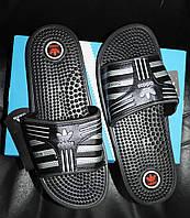 Шлепанцы мужские (сланцы, шлепки) Adidas с массажной подошвой. Сланцы массажные мужские, реплика