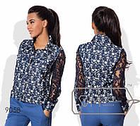 Бомбер, джинс принт, гипюр, два цвета, р.42,44,46 код 7103В