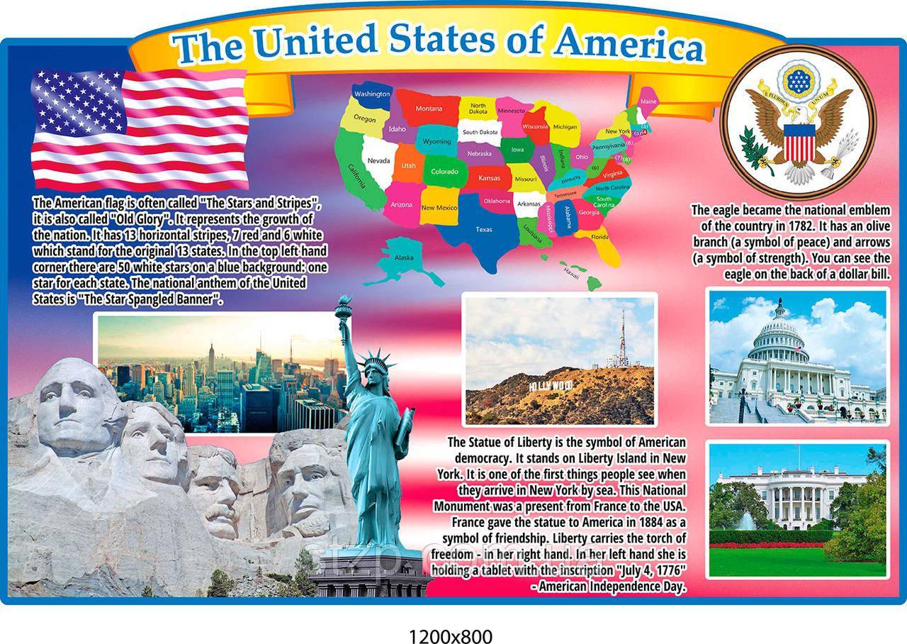 Стенд Соединённые Штаты Америки на английском языке