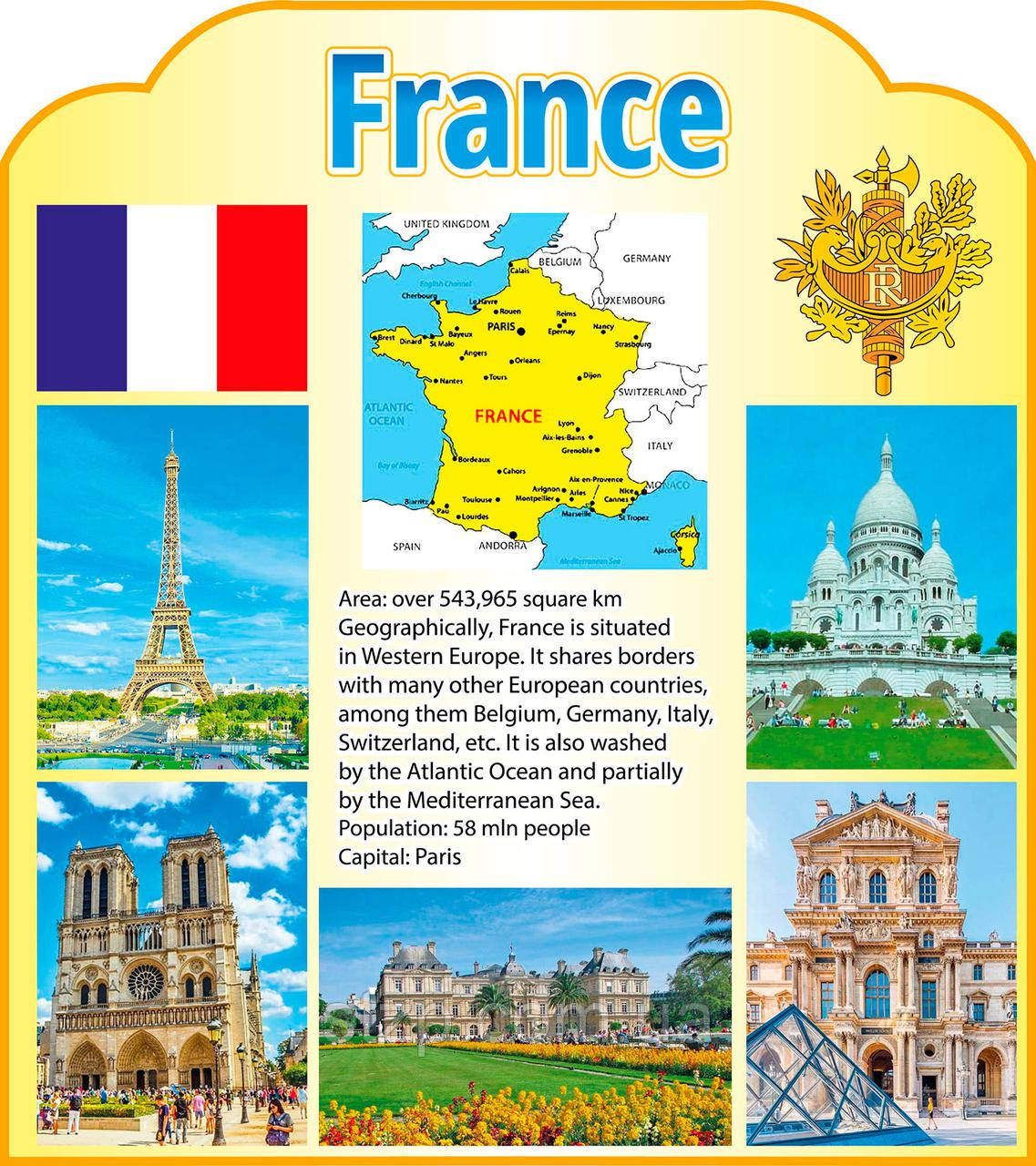 Стенд Карта і об'єкти архітектури Франції англійською мовою