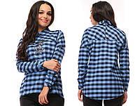 87955fad9dc Сине-голубая женская клетчатая рубашка с карманами КЕНГУРУ декорировано  звездочкой из паеток. Арт-