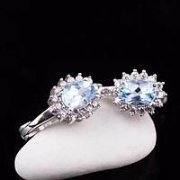 Серебряные женские серьги (голубой топаз, фианиты)