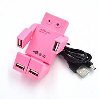 USB хаб Робот розовый