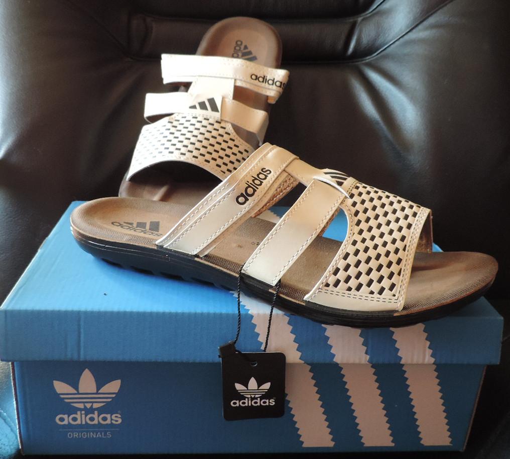 Мужские фирменные шлепанцы (босоножки) Adidas (Адидас) Beige, реплика