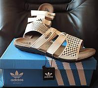 Мужские фирменные шлепанцы (босоножки) Adidas (Адидас) Beige, реплика, фото 1