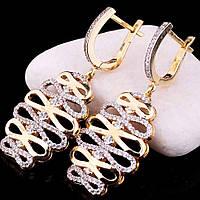 Золотые женские серьги из белого и желтого золота с фианитами